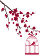 vector red bird in a cage in the tree with flowers