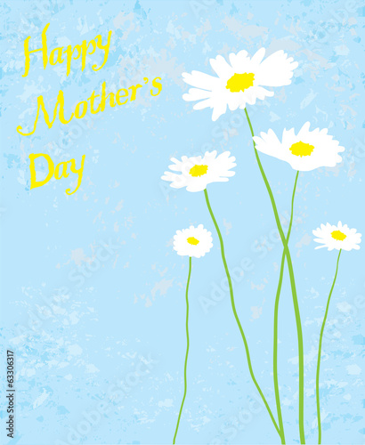 vector mother's day card with camomiles