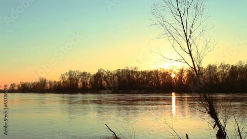 River mist. Beautiful morning  sunset landscape time lapse