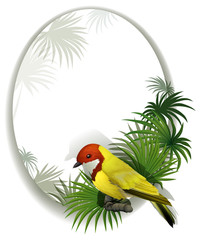 A round template with a bird