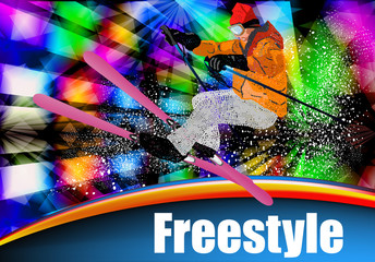 Sport. Ski. Extreme Freestyle Skiing. Snowboarding. Vector