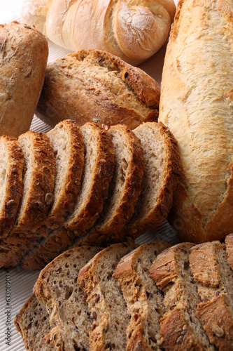 Fresh bread and rolls with grains