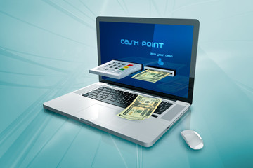 a laptop with a cash machine  on the screen