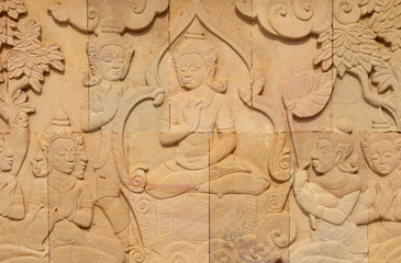 thai style sandstone carving art on the wall  temple