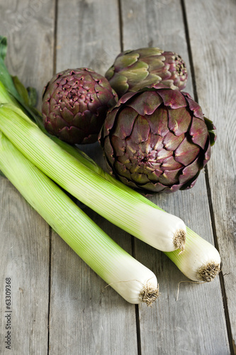 Leek and artichoke