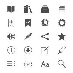 E-book reader flat icons
