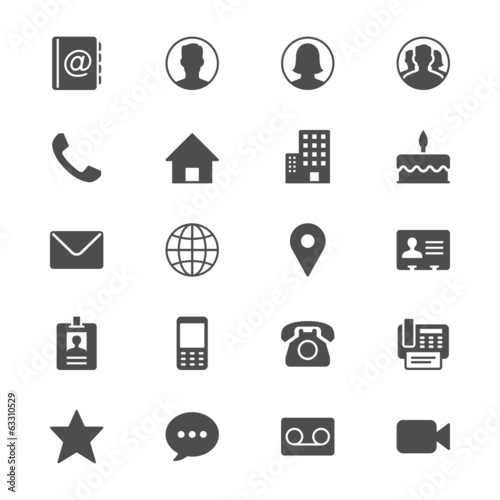 Contact flat icons poster