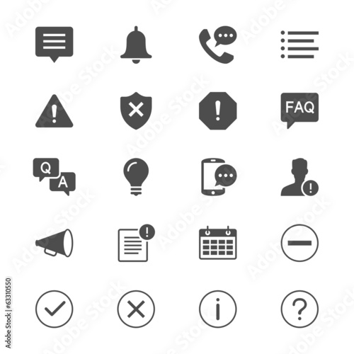 Information and notification flat icons