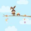 Bunny Sunglasses Tree Handcart Easter Eggs Sky