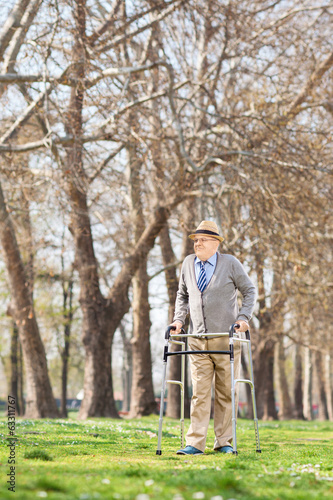 Elderly person walking with walker outside