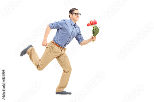 Man running with flowers in his hand