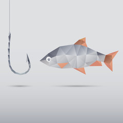 Fish and hook made with triangles