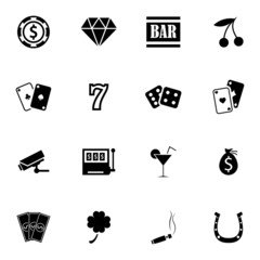 Vector black casino icons set