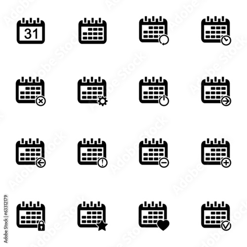 Vector black calendar icons set
