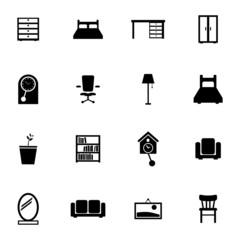 Vector black  furniture icons set