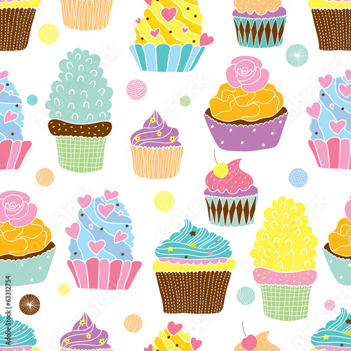 Cute cupcakes. Vector seamless pattern.