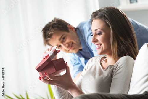 Romantic couple with present