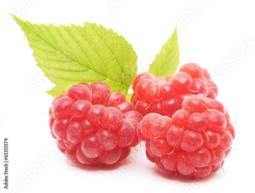 red raspberry fruits isolated