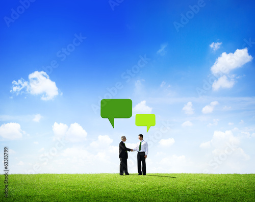 Businessmen Meeting Outdoor With Speech Bubble