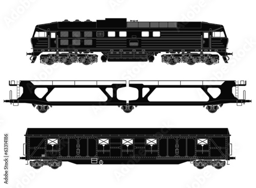 Train set with locomotive and freight waggons