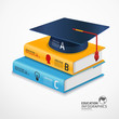 modern infographic Template with book and Graduation cap banner