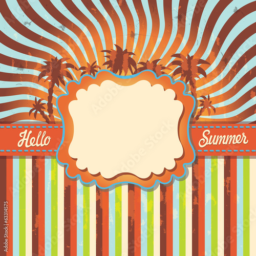 Design template Hello summer with palm tree,strips.Vintage