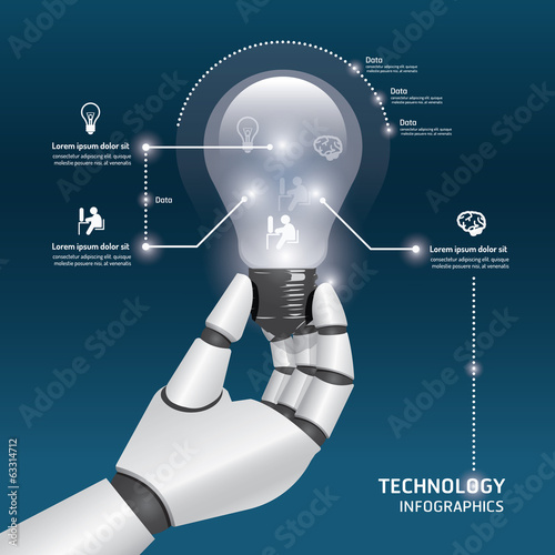 infographic Template with robot hand hold Light bulbs design vec