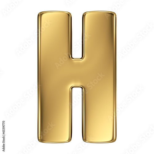 Letter H from gold solid alphabet