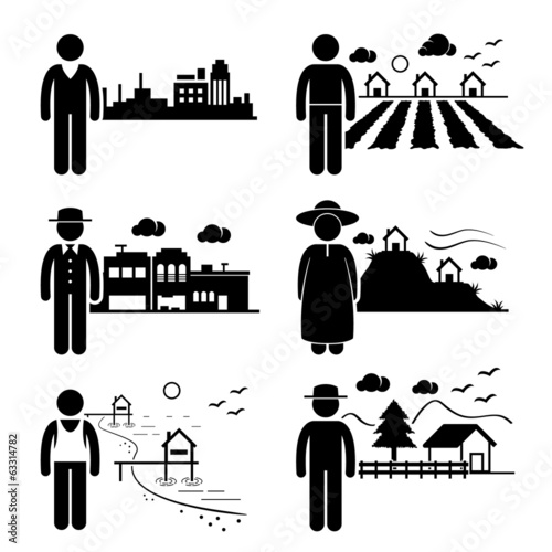 People Living in Different Places