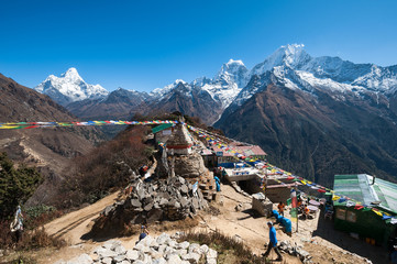 View of Mt. Thamserku, Kangteka and Ama Dablam from Mongla