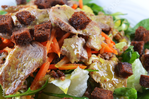 salad of marinated pork