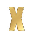 Letter x from gold solid alphabet. Lowercase