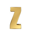 Letter z from gold solid alphabet. Lowercase