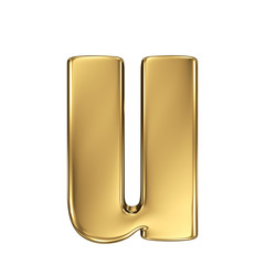 Letter u from gold solid alphabet. Lowercase