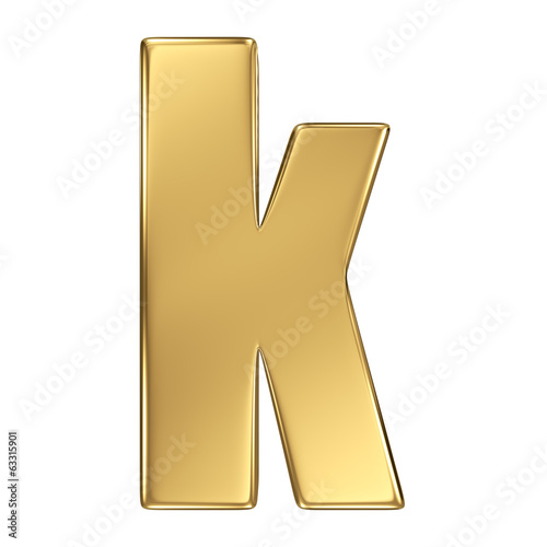 Letter k from gold solid alphabet. Lowercase