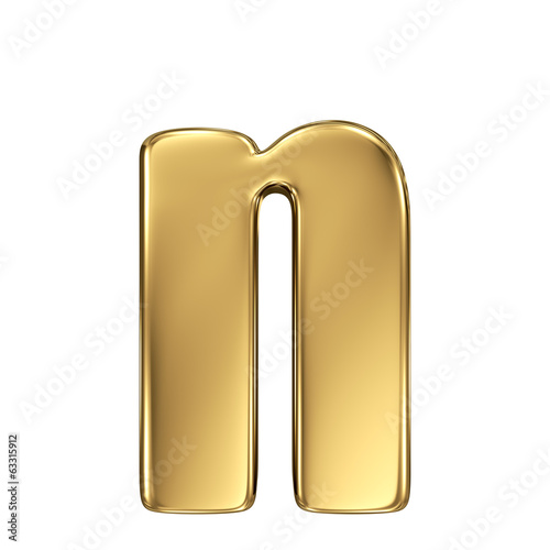 Letter n from gold solid alphabet. Lowercase