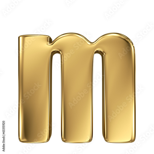 Letter m from gold solid alphabet. Lowercase