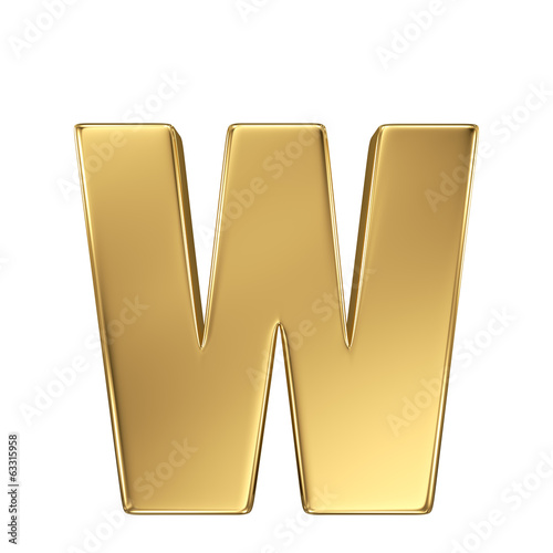 Letter w from gold solid alphabet. Lowercase