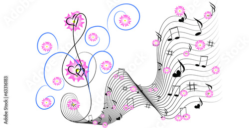 Music fantasy with pink flowers and hearts
