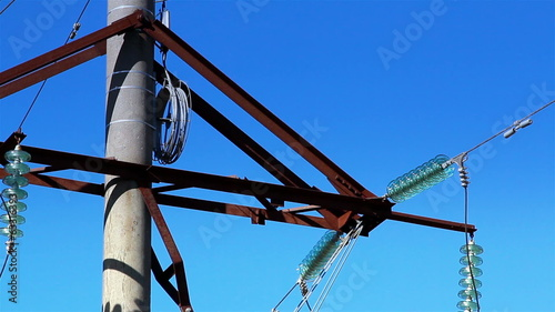 Cable wires on the power post