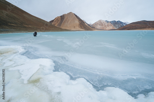 Pangong Tso or Pangong lake in wintertime, India