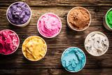 Fototapety Variety of gourmet flavours of Italian ice cream
