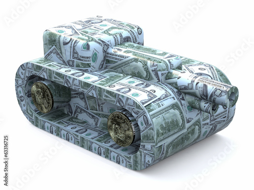 tank made of dollars