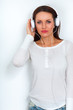 smiling woman wearing headphones