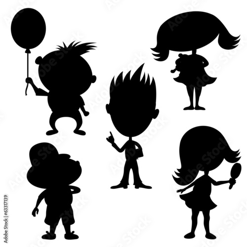 Vector silhouettes. Children.