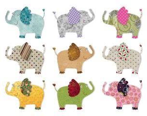 Elephants. Digital patcwork.