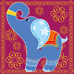 Indian elephant in bright colors
