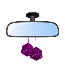 Car mirror with pair of purple dices