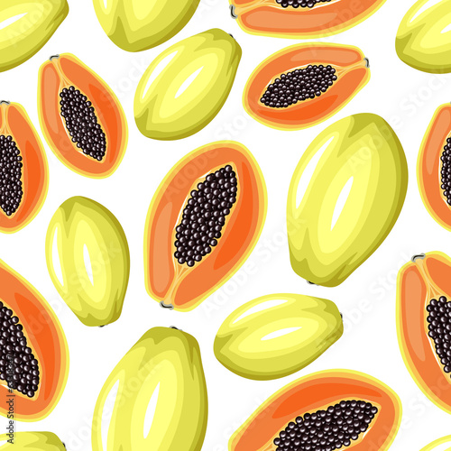 Papayas seamless pattern