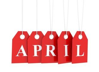 Red april etiquette tag
